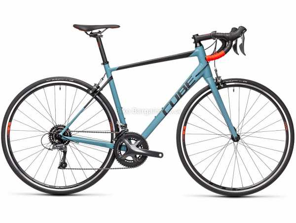 Cube Attain Alloy Road Bike 2021 47cm, Turquoise, Black, Alloy Frame, 700c Wheels, 16 Speed, Caliper Brakes, Rigid, Double Chainring