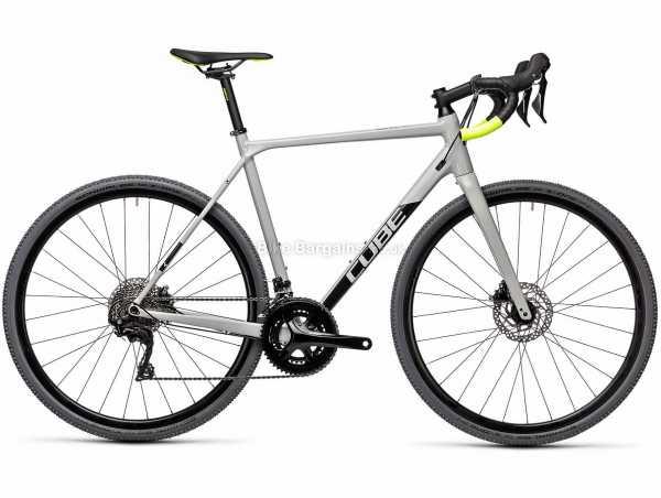 Cube Cross Race Pro Alloy Cyclocross Bike 2021 56cm, Grey, Black, Yellow, Alloy Frame, 700c Wheels, 22 Speed, Disc Brakes, Rigid, Double Chainring