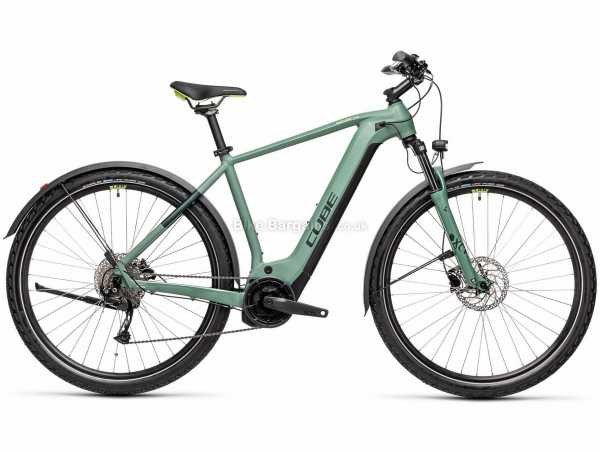 "Cube Nature Hybrid One 500 Allroad Alloy Electric Bike 2021 58cm, Green, Black, Alloy Frame, 9 Speed, 29"" Wheels, Disc Brakes, 24.7kg"