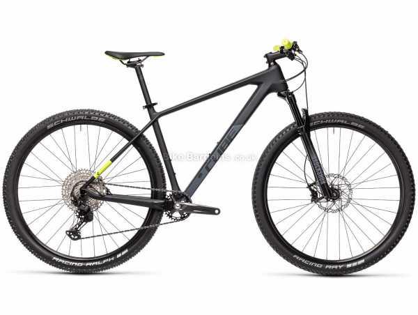 "Cube Reaction C:62 Pro Carbon Hardtail Mountain Bike 2021 21"", Grey, Black, Yellow, Carbon Frame, 27.5"", 29"" Wheels, 12 Speed, Disc Brakes, Hardtail, Suspension, Single Chainring"