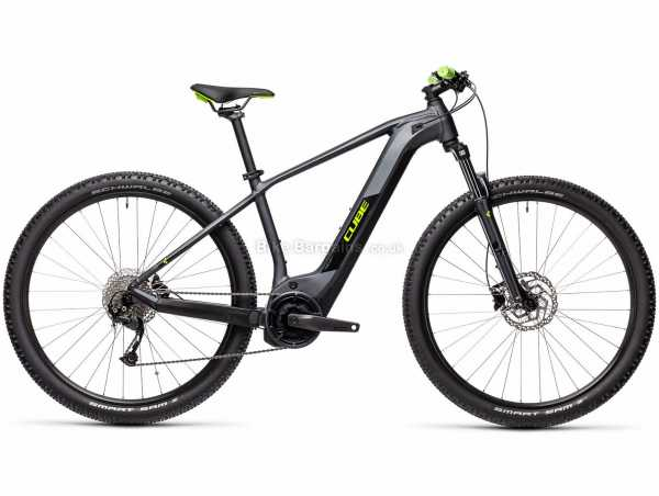 "Cube Reaction Hybrid Performance 500 Alloy Electric Bike 2021 23"", Grey, Black, Green, Alloy Frame, 27.5"", 29"" Wheels, 9 Speed, Disc Brakes, Hardtail, Suspension, Single Chainring"