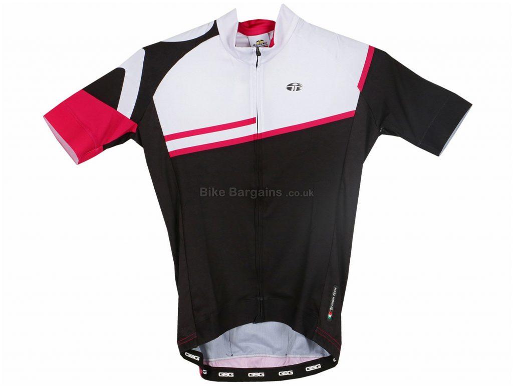 GSG Ruby Ladies Short Sleeve Jersey XS,S,M,L,XL,XXL, Black, White, Red, Short Sleeve, 3 rear pockets, Zip