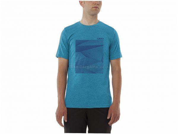 Giro Geo Graphic Tech T-Shirt XL, Turquoise, Men's, Short Sleeve, Cotton, Polyester