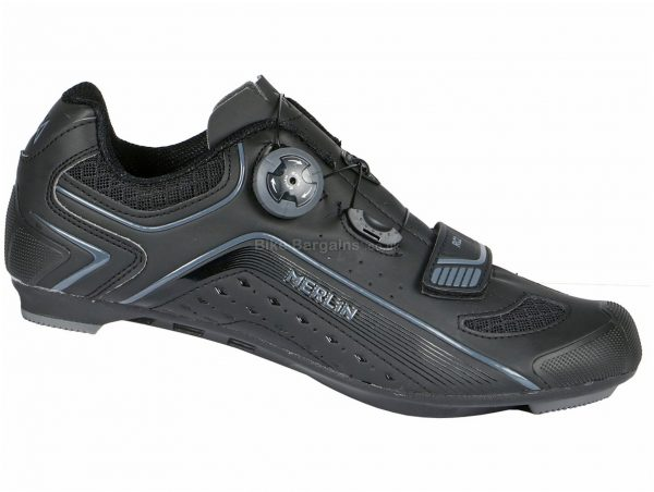 Merlin RC2 Road Shoes 41,42,43,44,45,46,47, Black, Grey, Nylon, Velcro, Synthetic Leather, Boa, Velcro