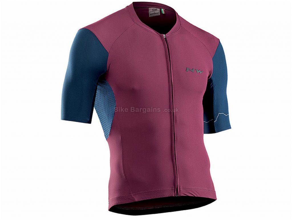 Northwave Extreme 4 Short Sleeve Jersey L, Blue, Purple, Short Sleeve, 3 rear pockets, Zip