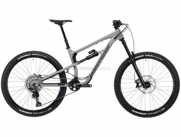 "Nukeproof Mega 275 Comp Deore Alloy Full Suspension Mountain Bike 2021 S,M,L,XL,XXL, Grey, Black, Alloy Full Suspension Frame, 12 Speed, Deore Drivetrain, 27.5"" Wheels, Disc Brakes, 15.4kg"