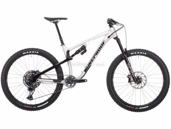 "Nukeproof Reactor 275 Pro GX Eagle Alloy Full Suspension Mountain Bike 2021 S, Silver, Black, Alloy Full Suspension Frame, 12 Speed, GX Drivetrain, 27.5"" Wheels, Disc Brakes,"