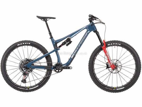 "Nukeproof Reactor 275 RS X01 Eagle Carbon Full Suspension Mountain Bike 2021 L, Blue, Black, Red, Carbon Full Suspension Frame, 12 Speed, X01 Drivetrain, 27.5"" Wheels, Disc Brakes, 13.9kg"
