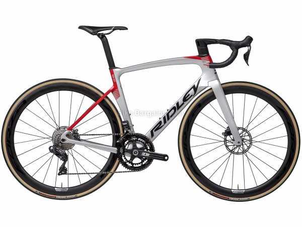 Ridley Noah FAST Disc Ultegra Di2 Carbon Road Bike 2021 S, Grey, Red, Carbon Frame, 22 Speed, Ultegra Drivetrain, 700c Wheels, Disc Brakes