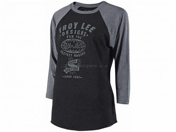 Troy Lee Designs Ladies World Raglan 3/4 Sleeve T-Shirt S, Black, Grey, Ladies, 3/4 Sleeve, Cotton, Polyester