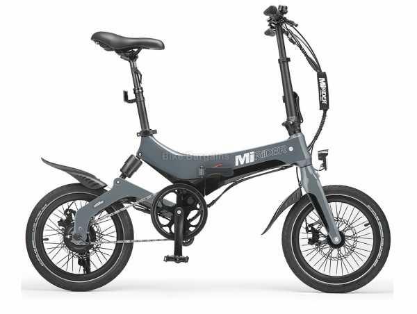 "MiRiDER One Folding Alloy Electric Bike 2021 M, Grey, Black, White, Alloy Frame, Singlespeed, 16"" Wheels, Disc Brakes, Rigid, Single Chainring, 17.2kg"
