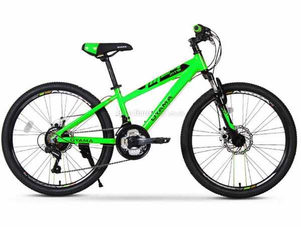 "Oyama JM24 Alloy Kids MTB Bike M, Green, Yellow, Black, Alloy Frame, 18 Speed, 24"" Wheels, Disc Brakes, Hardtail, Suspension, Triple Chainring"