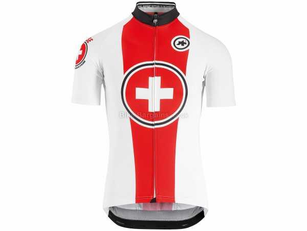 Assos Suisse Fed Short Sleeve Jersey S, White, Red, Men's, Short Sleeve, Zip, 3 Rear Pockets, Polyester, Polyamide, Elastane
