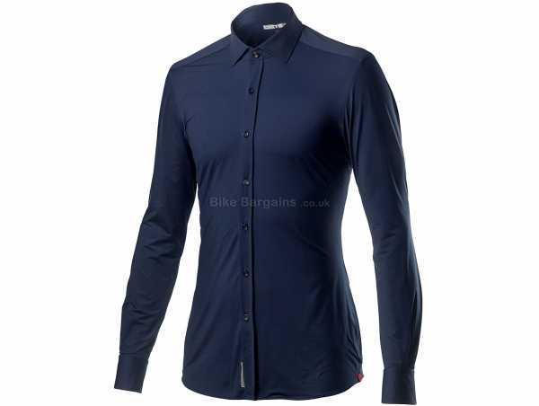 Castelli VG Button Long Sleeve Shirt XXL, Blue, Men's, Long Sleeve, Buttons, Polyamide, Elastane