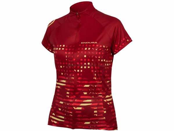 Endura Ladies Hummvee Ray Short Sleeve Jersey XS,S, Red, Ladies, Short Sleeve, Zip, 3 Rear Pockets, Polyester