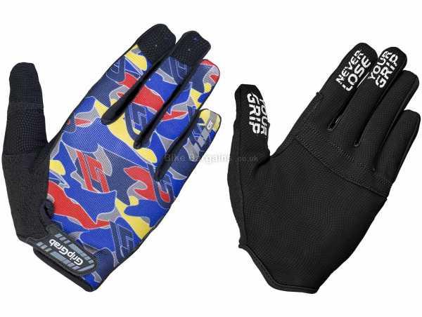 GripGrab Rebel Rugged Full Finger Gloves S,XL,XXL, Blue, Grey, Unisex, Full Finger, Polyester, Polyurethane, Polyamide, Elastane