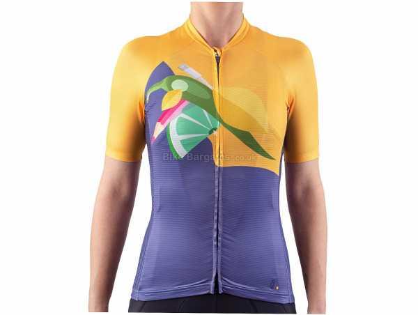 Isadore Ladies Alternative Vision of Life Short Sleeve Jersey L, Blue, Orange, Ladies, Short Sleeve, Zip, 3 Rear Pockets, Polyester, Elastane