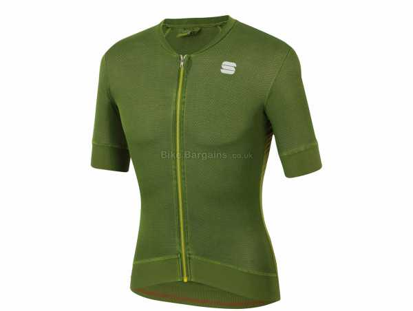 Sportful Monocrom Short Sleeve Jersey XXL, Black, Blue, Grey, Green, Men's, Short Sleeve, Zip, 3 Rear Pockets, Polyester, Elastane