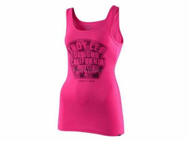 Troy Lee Designs Ladies Granger Check Sleeveless Jersey S, Pink, Ladies, Sleeveless, Cotton