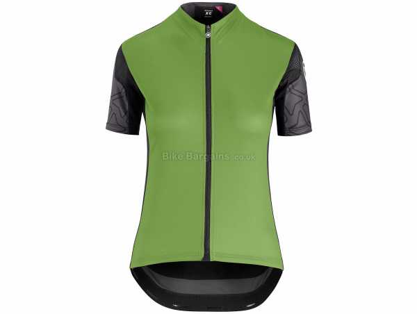 Assos Ladies XC Short Sleeve Jersey XL, Green, Black, Ladies, Short Sleeve, Zip, Breathable, 3 rear pockets, Polyester, Polyamide, Elastane