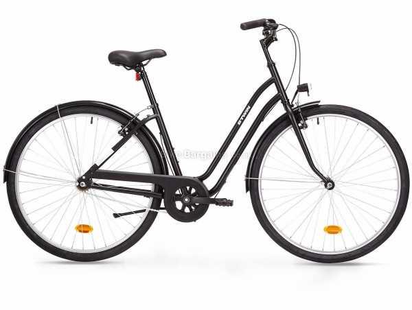 B'Twin Elops 100 Ladies Low Frame Steel City Bike M, Black, Steel Frame, 700c, 15.3kg, Single Speed, Rigid, Caliper Brakes, Single Speed, Single Chainring