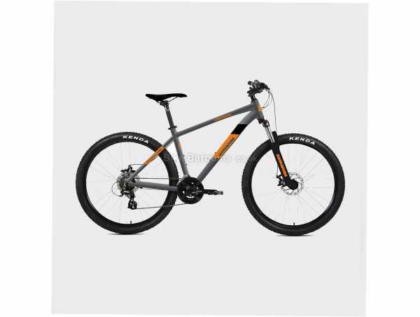 "Barracuda Oregon Alloy Hardtail Mountain Bike 18"",20"", Grey, Orange, Black, Alloy Frame, 27.5"", 18kg, Tourney 21 Speed, Disc, Hardtail, Triple Chainring"