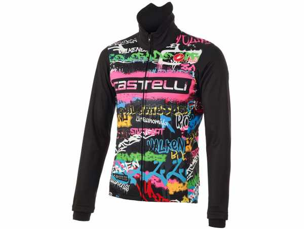 Castelli Graffiti Windstopper Jacket S, Black, Men's, Long Sleeve, Zip, Windproof, Waterproof, Breathable, Polyester
