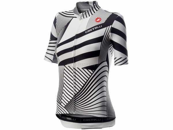 Castelli Sublime Ladies Short Sleeve Jersey 2020 XL, White, Black, Short Sleeve, Zip, 3 Rear Pockets, Breathable, 122g, Polyester, Elastane