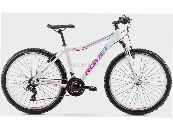 "Romet Jolene 6.1 Ladies Alloy Hardtail Mountain Bike 17"", White, Alloy Frame, 26"", Tourney 21 Speed, Caliper Brakes, Hardtail, Suspension, Triple Chainring"