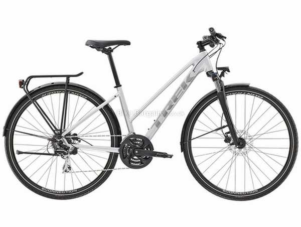 Trek Dual Sport 2 Stagger Equipped Ladies Alloy City Bike 2021 XL, Silver, Black, Alloy Frame, Acera & Tourney 24 Speed, 700c Wheels, Disc Brakes, Triple Chainring