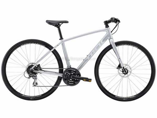 Trek FX 2 Disc Ladies Alloy City Bike 2021 M, Silver, Alloy Frame, Acera & Tourney 24 Speed, 700c Wheels, Disc Brakes, Triple Chainring