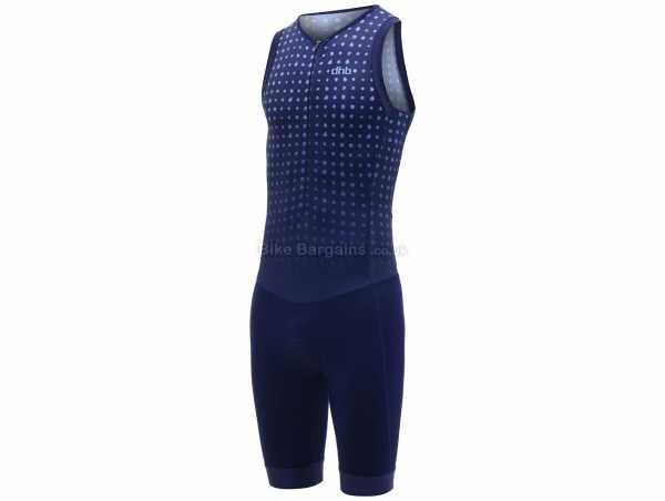 dhb Blok Micro Dot Sleeveless Triathlon Suit XL, Blue, Men's, Sleeveless, Zip, Breathable, Polyamide, Elastane, Polyester