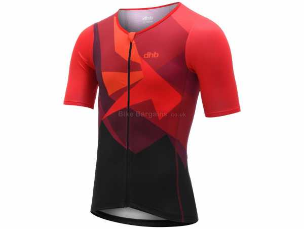 dhb Blok Vesuvio Triathlon Short Sleeve Top M,L, Red, Black, Men's, Short Sleeve, Zip, Breathable, Polyester, Elastane