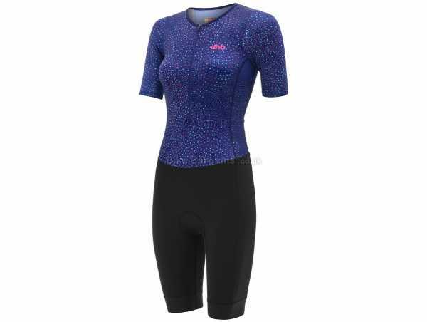 dhb Moda Ladies Chiba Short Sleeve Triathlon Suit 6, Black, Blue, Ladies, Short Sleeve, Zip, Breathable, Polyamide, Polyester, Elastane