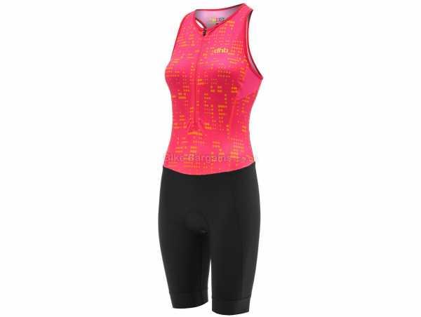 dhb Moda Ladies Hibiscus Sleeveless Triathlon Suit 6,12,14, Black, Pink, Ladies, Sleeveless, Zip, Breathable, Polyamide, Elastane, Polyester