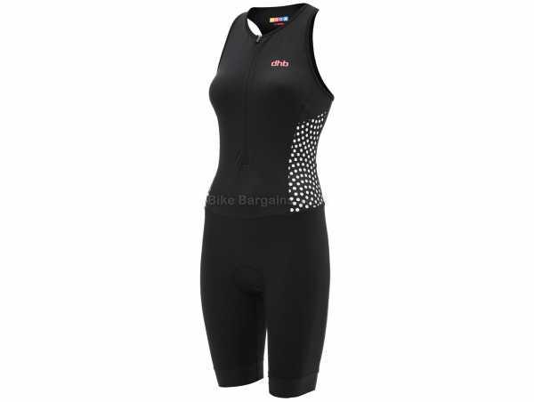 dhb Moda Ladies Kyoto Sleeveless Triathlon Suit 14, Black, White, Ladies, Sleeveless, Zip, Breathable, Polyamide, Elastane, Polyester
