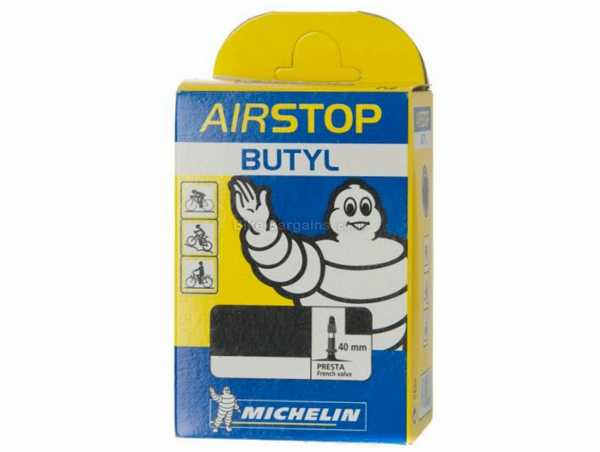 Michelin Airstop 40mm Valve 700c Inner Tube 700c, Black, Presta, 125g, Butyl