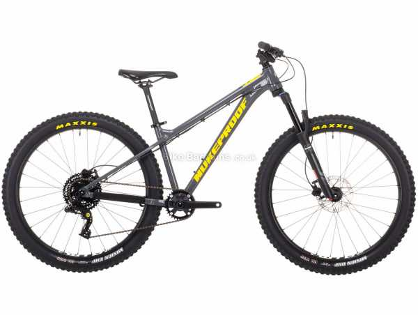 "Nukeproof Cub-Scout 26 Sport Box 4 Kids Alloy Hardtail Mountain Bike M, Grey, Black, Alloy Frame, Box Four 8 Speed, 26"" Wheels, Disc Brakes, Single Chainring"