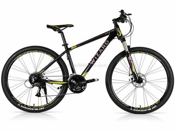 "Wizard X-Country 3.5 Alloy Hardtail Mountain Bike 15"",17"",19"",21"", Black, Yellow, Alloy Frame, Acera 27 Speed, 27.5"" Wheels, Disc Brakes, Triple Chainring"
