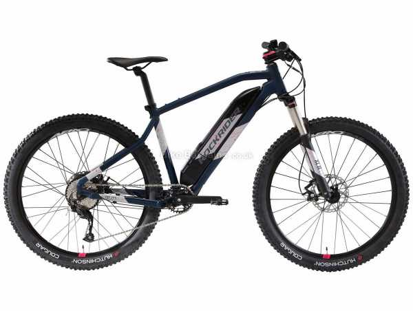 "B'Twin Rockrider Ladies E-ST 500 27.5"" Alloy Electric Hardtail Mountain Bike L, Blue, White, Alloy Hardtail Frame, 27.5"" Wheels, 9 Speed Altus Drivetrain, Disc Brakes, 22.4kg"