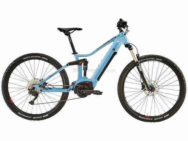 "B'Twin Stilus E-ST 29"" Alloy Electric Full Suspension Mountain Bike XL, Blue, Alloy Full Suspension Frame, 29"" Wheels, 10 Speed Deore Drivetrain, Disc Brakes"