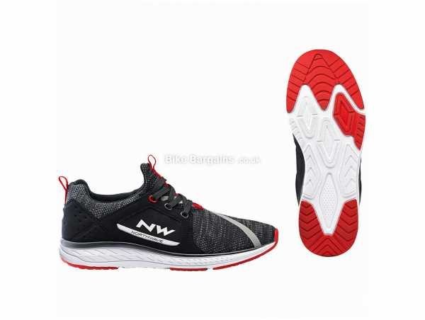 Northwave Podium Knit Shoes 43,45,46, Black, White, Red, Laces, EVA, Polyester, Rubber