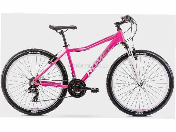 "Romet Jolene 6.0 Alloy Hardtail Mountain Bike 15"", Pink, 26"" Wheels, Alloy Frame, Caliper Brakes, Tourney 21 Speed Drivetrain, Triple Chainring"