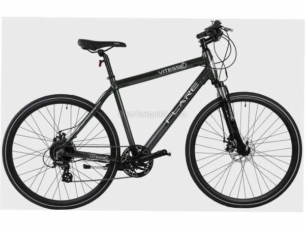 Vitesse Flare Hybrid Alloy Electric Bike M, Green, Black, 700c Wheels, Alloy Frame, Disc Brakes, Altus 8 Speed Drivetrain, Single Chainring
