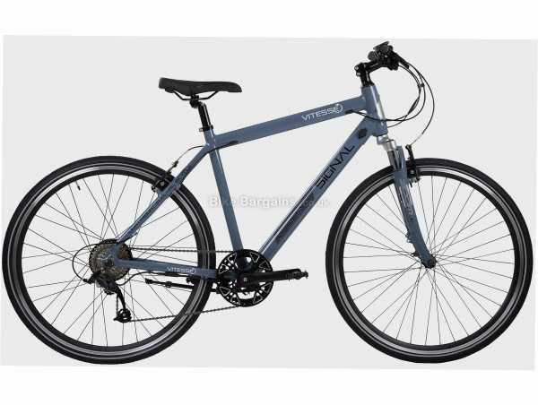 Vitesse Signal Alloy Electric Bike M, Blue, 700c Wheels, Alloy Frame, Caliper Brakes, Altus 8 Speed Drivetrain, Single Chainring