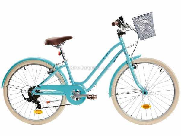 """B'Twin Elops 500 24"""" 9-12 Steel Kids City Bike M, Turquoise, Steel Frame, 24"""" Wheels, 6 Speed, Caliper Brakes, 14kg"""