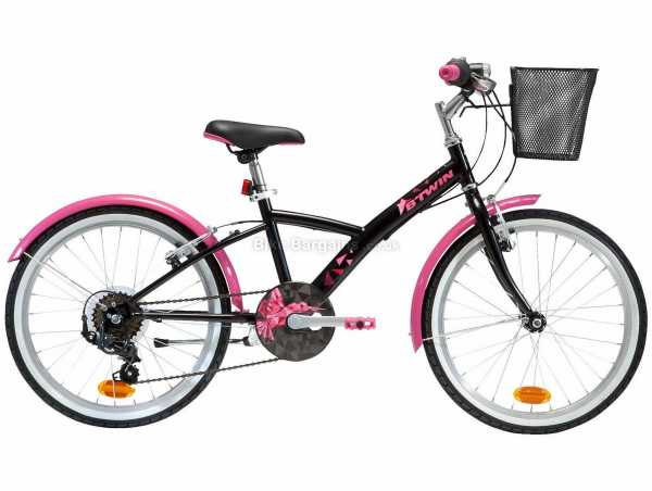 "B'Twin Original 500 20"" 6-9 Steel Kids City Bike M, Black, Pink, Steel Frame, 20"" Wheels, 6 Speed, Caliper Brakes, 12.8kg"