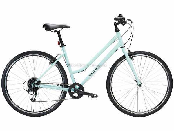 B'Twin Riverside 120 Low Step Through Ladies Steel City Bike L, Turquoise, Steel Frame, 700c Wheels, Microshift 8 Speed, Caliper Brakes