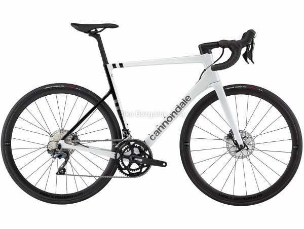 Cannondale Supersix Evo Carbon Disc Ultegra Road Bike 2021 58cm, White, Black, Carbon Frame, 700c Wheels, 105, Ultegra 22 Speed, Disc Brakes, Rigid, Double Chainring