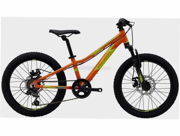 """Polygon Relic 20"""" Alloy Kids Bike M, Orange, Yellow, Alloy Hardtail Frame, Tourney 6 Speed Groupset, 20"""" Wheels, Disc Brakes, Single Chainring"""